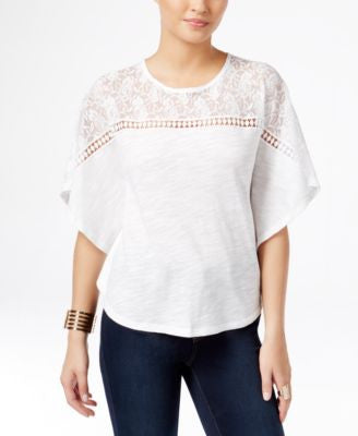 Thalia Sodi Lace-Trim Poncho Top, Only at Vogily
