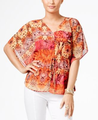 Thalia Sodi Printed Batwing-Sleeve Top, Only at Vogily