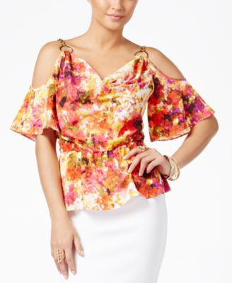 Thalia Sodi Printed Cold-Shoulder Peplum Blouse, Only at Vogily