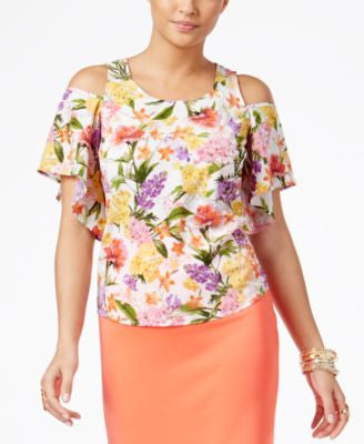 Thalia Sodi Floral-Print Cold-Shoulder Blouse, Only at Vogily