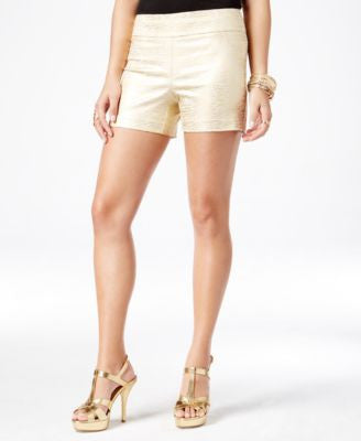 Thalia Sodi Metallic-Print Pull-On Shorts, Only at Vogily