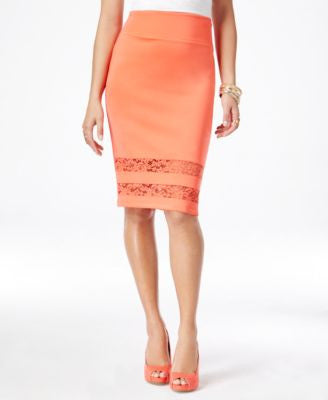 Thalia Sodi Lace-Hem Pencil Skirt, Only at Vogily