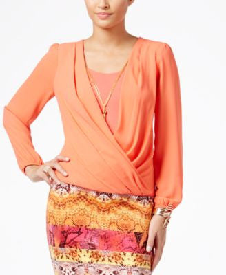 Thalia Sodi Faux-Wrap Blouson Top, Only at Vogily