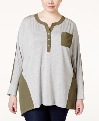 Stoosh Plus Size Long-Sleeve Colorblocked Knit Henley Top