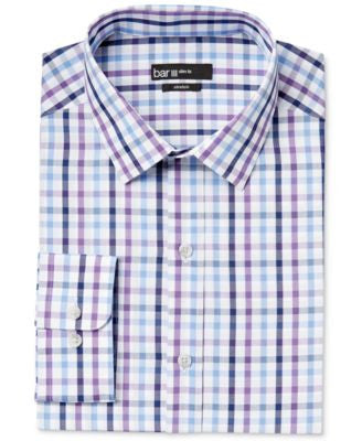 Bar III Men's Slim-Fit Purple Multi-Check Dress Shirt, Only at Vogily