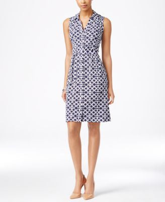 Charter Club Sleeveless Iconic-Print Shirtdress, Only at Vogily