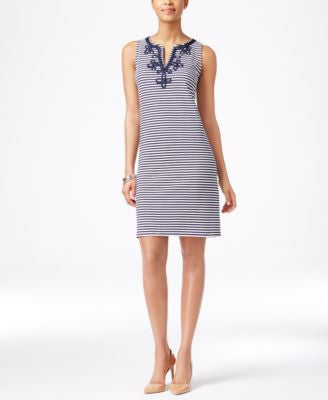 Charter Club Striped Embroidered Dress, Only at Vogily