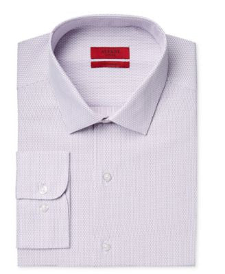 Alfani Men's Fitted Performance Purple Dobby Striped Dress Shirt, Only at Vogily