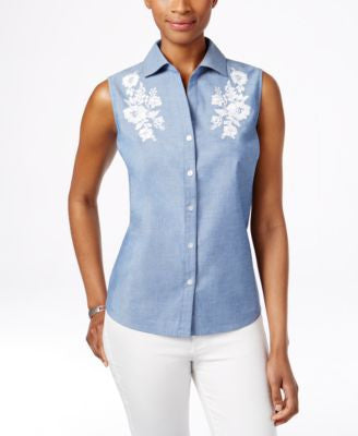 Karen Scott Petite Embroidered Sleeveless Shirt, Only at Vogily