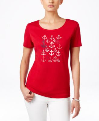 Karen Scott Petite Anchor Graphic T-Shirt, Only at Vogily