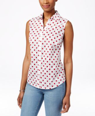 Karen Scott Dot-Print Sleeveless Shirt, Only at Vogily