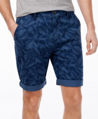 GUESS Men's Luke Palm-Print Flat-Front Shorts