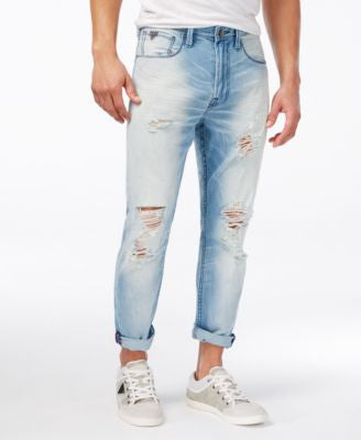 GUESS Men's Tapered Fit Cropped Blazing Blue Wash Jeans