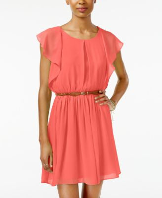 BCX Juniors' Belted Flutter-Sleeve Dress