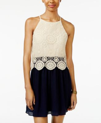 BCX Juniors' Lace Halter A-Line Dress