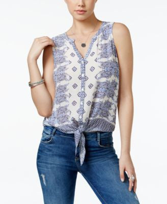 Lucky Brand Printed Tie-Front Blouse