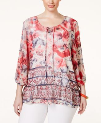 Style & Co. Plus Size Printed Peasant Blouse, Only at Vogily