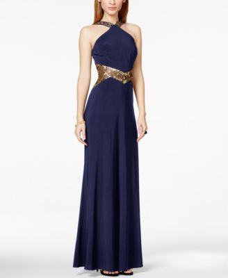 Betsy & Adam Crisscross Beaded Illusion Halter Gown