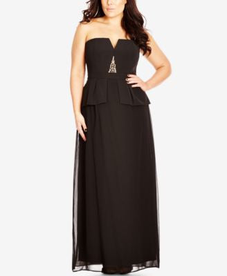 City Chic Plus Size Strapless Beaded Peplum Gown