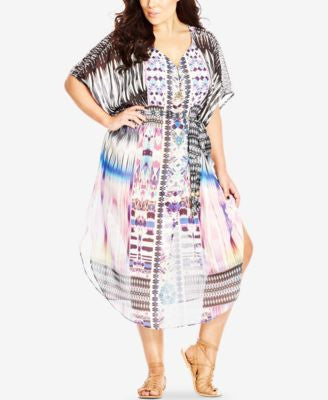 City Chic Plus Size Ikat-Print Chiffon Caftan Dress