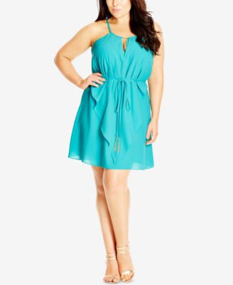 City Chic Plus Size Waterfall Tunic Dress