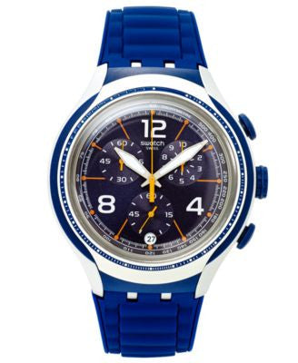 Swatch Unisex Swiss Chronograph Blue Face Blue Silicone Strap Watch 43mm YYS4015