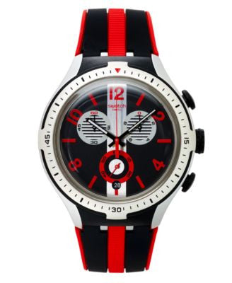 Swatch Unisex Swiss Chronograph Stripes Black and Red Silicone Strap Watch 43mm YYS4013