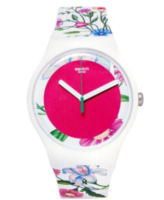Swatch Unisex Swiss Fiorinella Multicolor Floral Print Silicone Strap Watch 41mm SUOW127