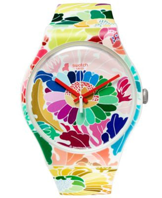 Swatch Unisex Swiss Flowerfool Multicolored Floral Print Silicone Strap Watch 41mm SUOW126