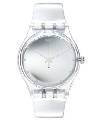 Swatch Unisex Swiss Shiny Moon Silver-Tone Strap Watch 41mm SUOK121