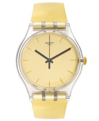 Swatch Unisex Swiss Goldenall Gold-Tone Strap Watch 41mm SUOK120