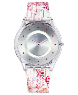 Swatch Women's Swiss Jardin Fleuri Multicolor Silicone Strap Watch 34mm SFE102