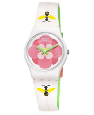 Swatch Women's Swiss Flower Jungle Two-Sided Off-White Bee and Green Silicone Strap Watch 25mm LM140