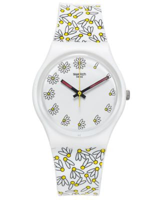 Swatch Women's Swiss Pick Me Multicolor Print Silicone Strap Watch 34mm GW174