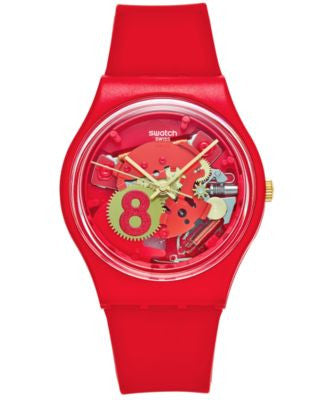 Swatch Unisex Swiss Eight For Luck Red Silicone Strap Watch 34mm GR166