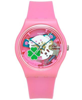 Swatch Unisex Swiss Flowerfull Pink Silicone Strap Watch 34mm GP147