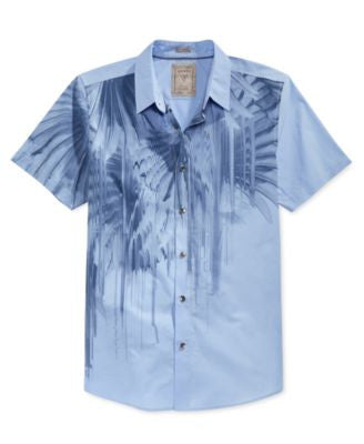 GUESS Men's Faded Palm-Print Short-Sleeve Shirt