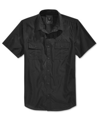 GUESS Men's Mesh Short-Sleeve Military-Style Shirt
