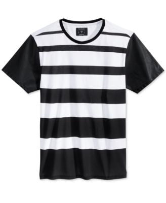 GUESS Men's Stream Stripe Faux-Leather-Sleeve T-Shirt