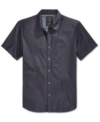 GUESS Men's Short-Sleeve Denim Shirt