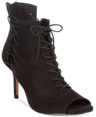 Chelsea & Zoe Kira Lace-Up Peep-Toe Booties