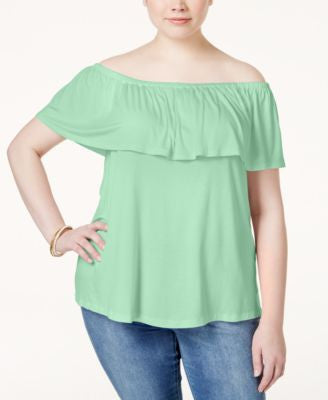 ING Plus Size Off-The-Shoulder Ruffled Top