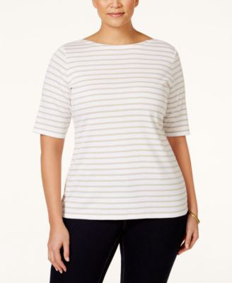 Charter Club Plus Size Striped Top, Only at Vogily