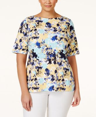 Charter Club Plus Size Printed Top, Only at Vogily