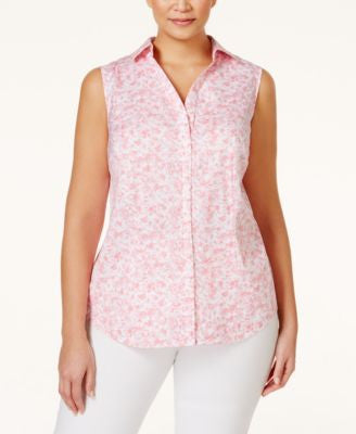 Charter Club Plus Size Printed Sleeveless Shirt, Only at Vogily