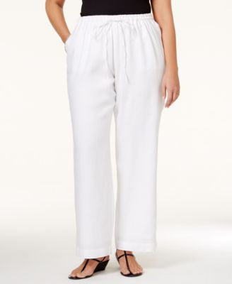 Charter Club Plus Size Linen Drawstring Pants, Only at Vogily