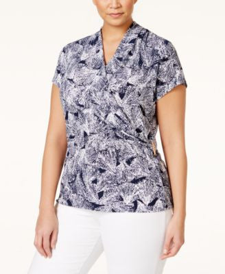 Charter Club Plus Size Printed Crossover Blouse, Only at Vogily