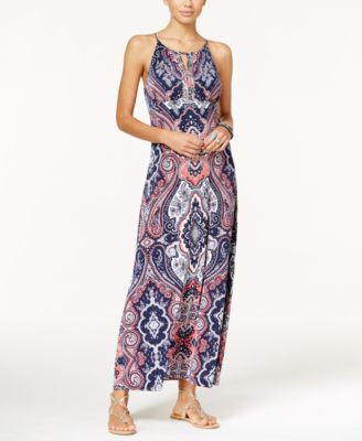 INC International Concepts Petite Embellished Keyhole Maxi Dress, Only at Vogily
