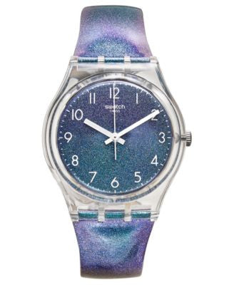 Swatch Unisex Swiss Maremosso Shimmering Blue and Purple Leather Strap Watch 34mm GE245