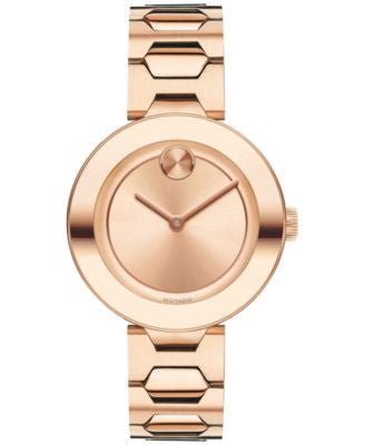 Movado Women's Swiss Bold Rose Gold-Tone Ion-Plated Stainless Steel Bracelet Watch 32mm 3600387